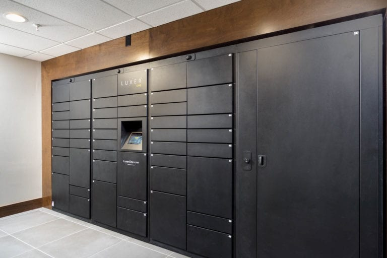luxer package lockers at the red apartments