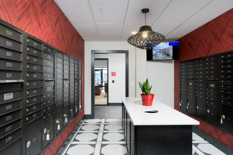 24-Hour Package Locker Room at the red apartments