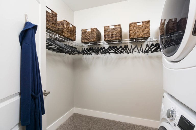 full size washer and dryer in walk-in closet at the RED apartments