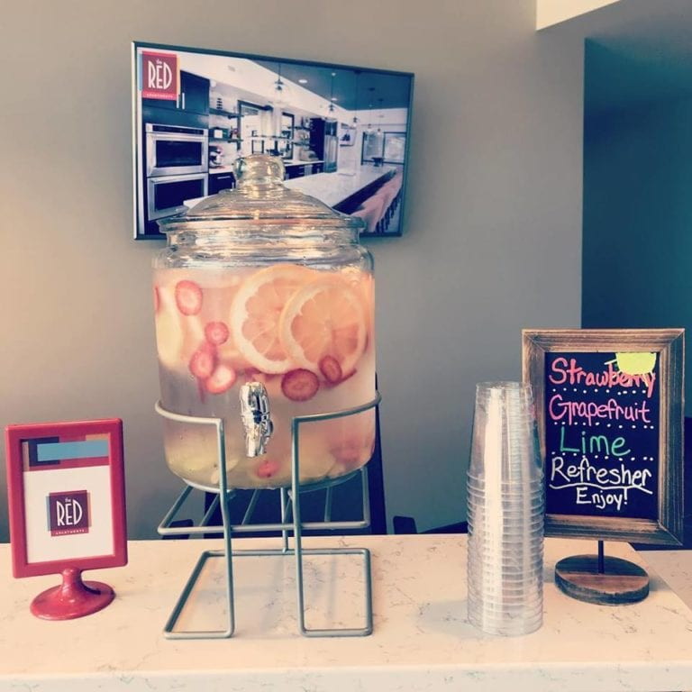 Welcome drink bar at theRED Apartments in Cincinnati