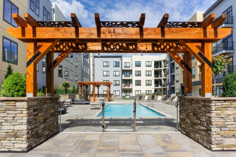 outdoor pool and courtyard at the RED Apartments in Cincinnati