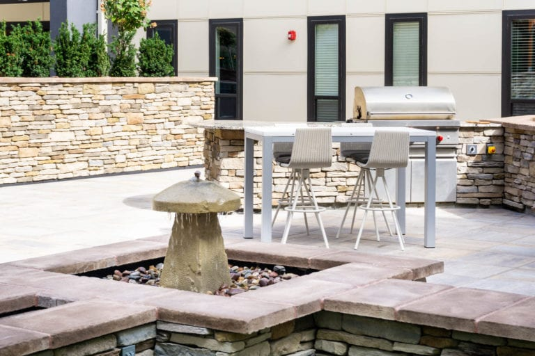 Outdoor Patio and BBQ Grill at the RED Apartments in Cincinnati