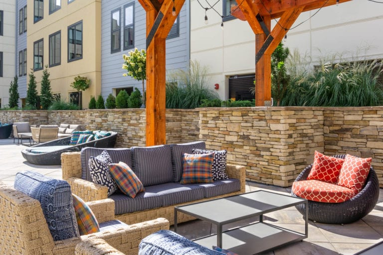 outdoor lounge seating at the RED apartments in Cincinnati